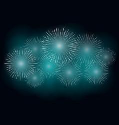 white fireworks effect on blue background festive vector image