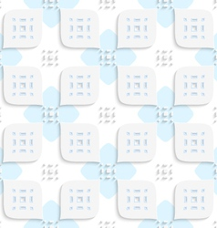 White geometrical perforated leaves and blue vector