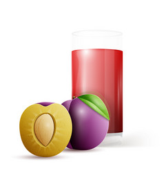 whole and half plum and glass of juice vector image