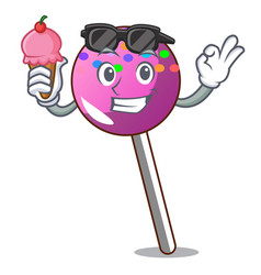 with ice cream lollipop with sprinkles character vector image