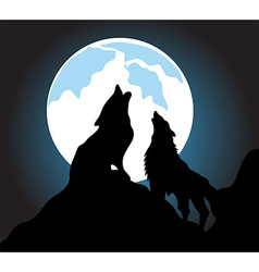 Wolves howl background vector