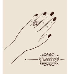 Woman hand wearing a wedding ring drawing vector image