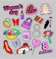 Womens day 8 march elements set with flowers vector