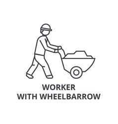 worker with wheelbarrow line icon sign vector image