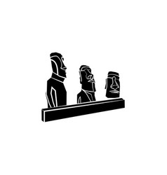 World attractions moai statues from easter islan vector
