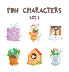 fun characters set 1 vector image vector image