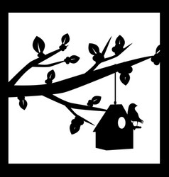 silhouette of a cherry blossom branch vector image