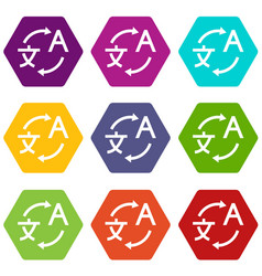 translating icon set color hexahedron vector image