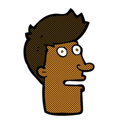 Comic cartoon shocked male face vector