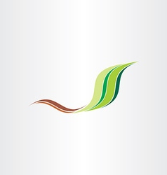 Green leaf stylized spring wave abstract vector