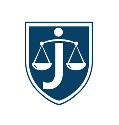 letter j law logo concept vector image