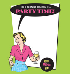 party time retro housewife party invitation vector image