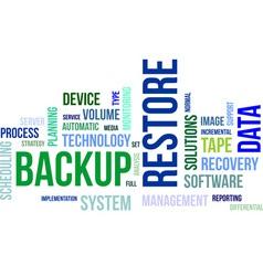word cloud backup restore vector image
