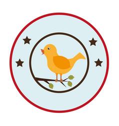 circular frame with bird in branch vector image