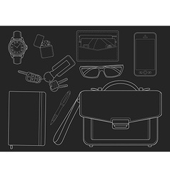 Every day carry man items Businessman Chalkboard vector image vector image