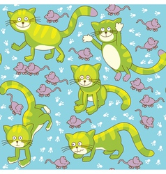 Funny cat and mouse seamless vector image vector image