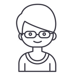 geek boy with glasses line icon sign vector image vector image
