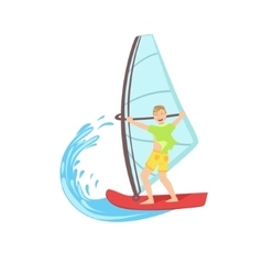 Guy Windsurfing At The Sea vector image