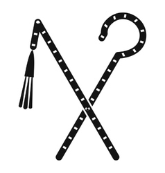 Rod and whip of Pharaoh icon simple style vector image