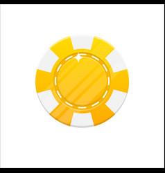 yellow casino chip cartoon style isolated vector image