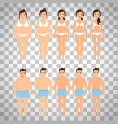 cartoon people before and after diet vector image