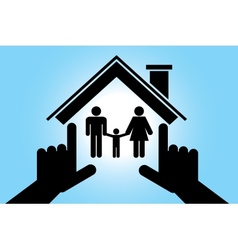 Family in house with baby boy vector image