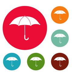 umbrella icons circle set vector image