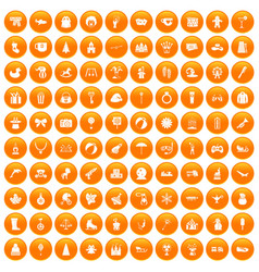 100 children icons set orange vector image