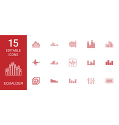 15 equalizer icons vector image