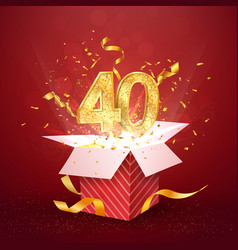 40 th years number anniversary and open gift box vector