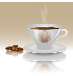 A cup of hot coffee on a beige background with vector image
