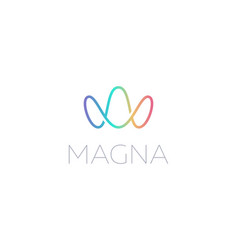 Abstract colorful gradient letters m w logo design vector