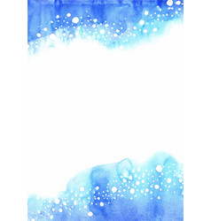 Abstract fresh blue with bubble frame watercolor vector