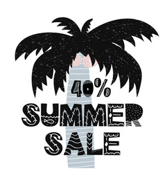 Advert card with lettering 40 summer sale wit palm vector