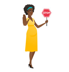 african pregnant woman holding stop road sign vector image