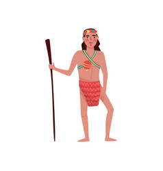 american indian man character in traditional vector image