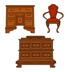 antiqu furniture set - antique bureau table vector image