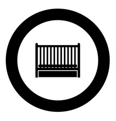 baby bed icon black color in circle vector image