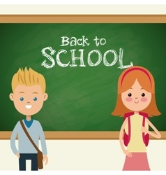 Back to school students with bags and blackboard vector