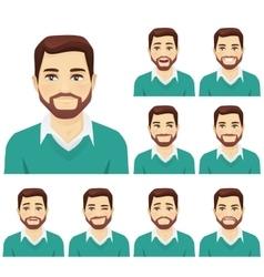 Beard man expression set vector