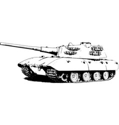 big heavy tank with a cannon and machine guns vector image