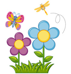 Butterfly and dragonfly in flower garden vector