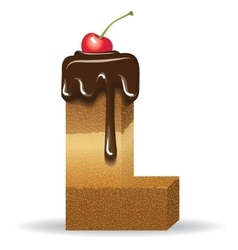 Cake letter L- birthday font vector image