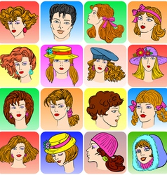 cartoon male and female faces vector image