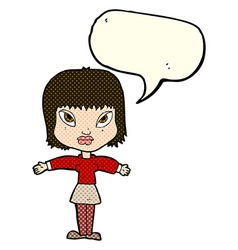 Cartoon woman with outstretched arms with speech vector