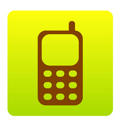 cell phone sign brown icon at green vector image