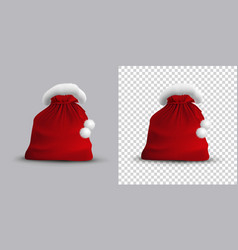 christmas open bag of santa claus isolated on gray vector image
