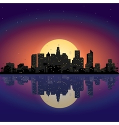 City at night with moon vector