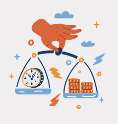 Clock and money on hand vector