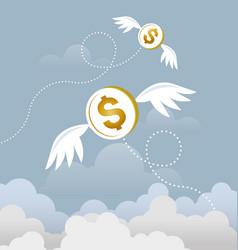 coin dollar with wings flying in the sky vector image